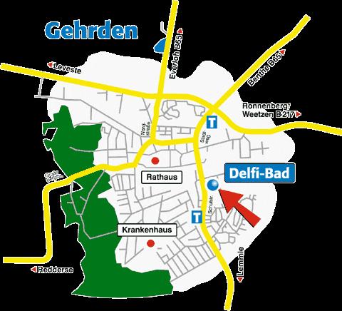 Anfahrtkarte Delfibad©Illustration: ©publicityStadt Gehrden