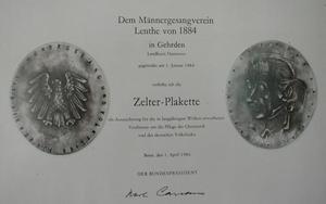 Männergesangsverein Lenthe Plakette©Stadt Gehrden